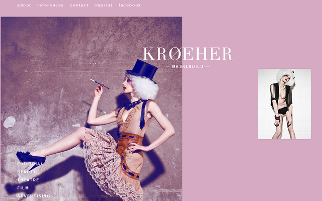 kroeher pink layout homepage inspiring design fashion