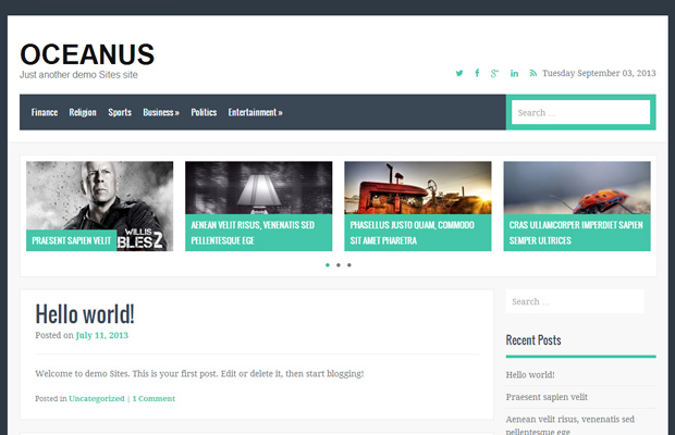 oceanus flat blog wordpress theme free download
