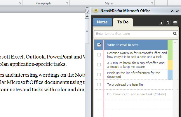 microsoft office addin notes taking todo tasks