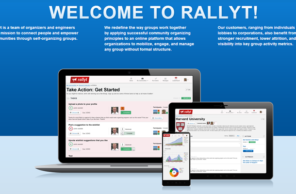 startups homepage rally website interface inspiration