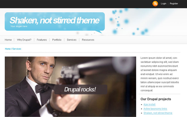 Drupal freebie template james bond shaken stirred website