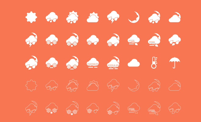 simple plain white weather icons freebie