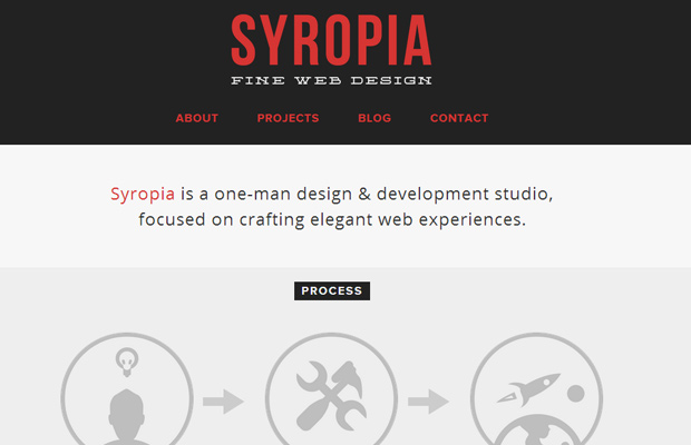 syropia red homepage layout design agency