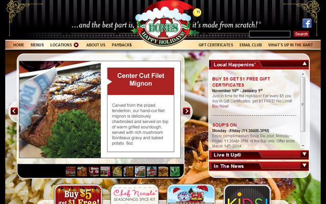 tbones steakhouse bar grill website layout