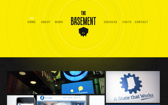 the basement yellow design studio website layout