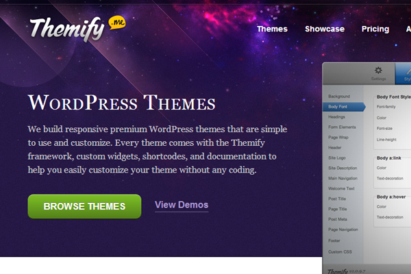 purple website layout design Themify