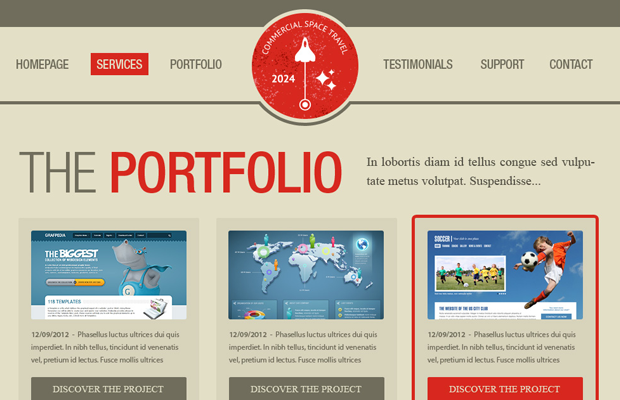 clean vintage portfolio website layout