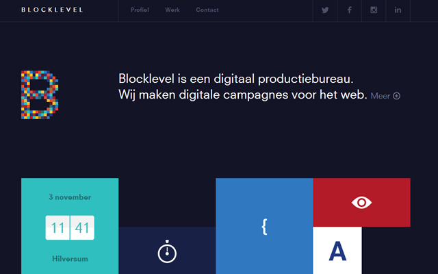 dark homepage layout blocklevel inspiring design