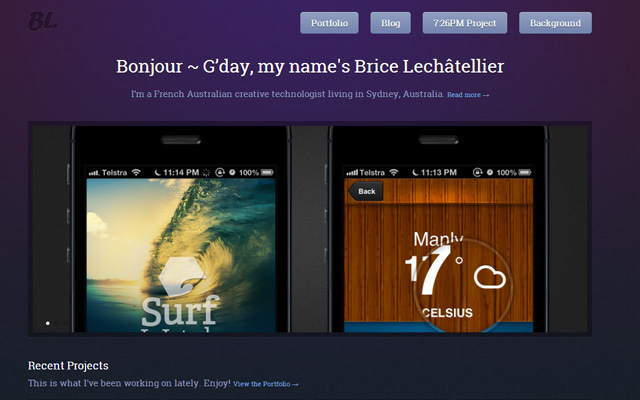 brice lechatellier designer purple portfolio website