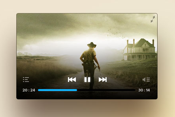 psd video player transparent ui