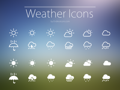 freebie weather white icons set