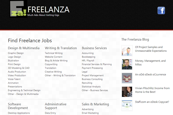 freelanza job board interface inspiration