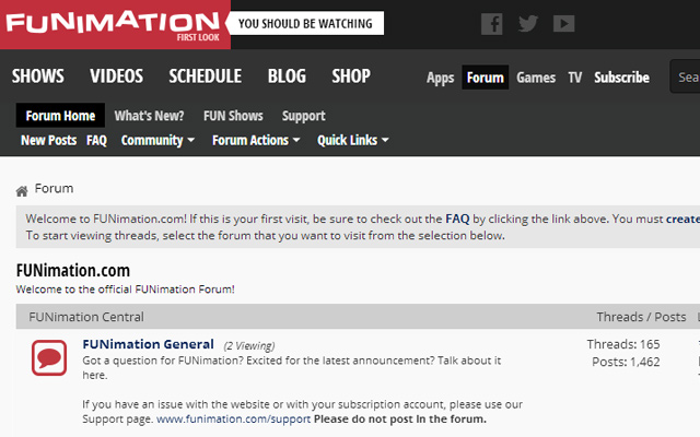 funimation forums clean interface website layout