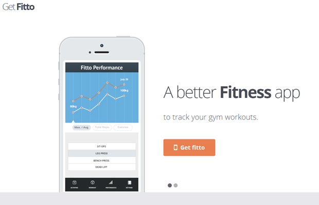 iphone app landing page fitto minimal white clean
