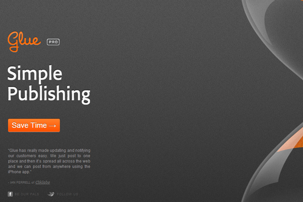 Glue Pro web software publishing solution orange layout