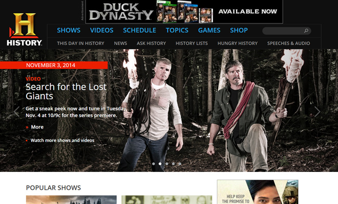 the history channel tv network website