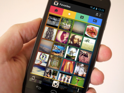 Android smartphone thumbnail icons photos Instagram redesign