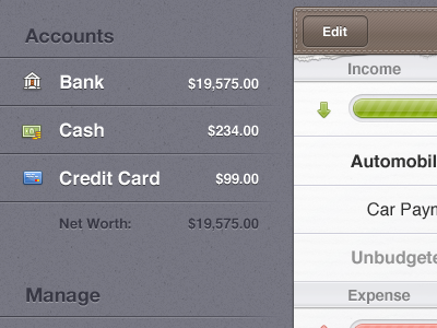 Accounts iPad Money budget system