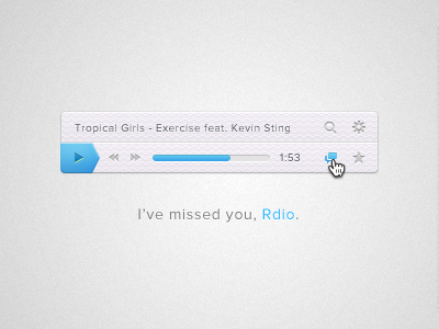 Rdio music player interface