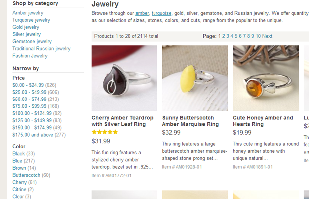 the russian store jewelry listing products
