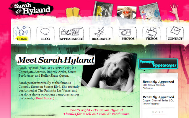 sarah hyland personal comedian website layout pink drawing