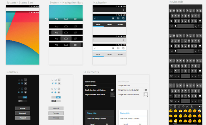 android sketch ui kit freebie