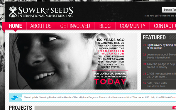 seeds magazine blog layout website interface