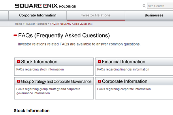 Japanese Square-Enix Gaming Holdings company faq investors support