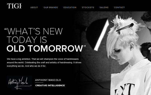 tigi dark themed website interface layout
