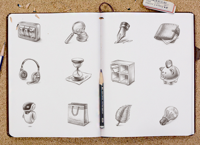 web icons sketchbook design branding illustrations