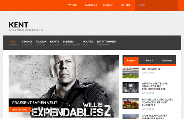 kent wordpress free theme open source download