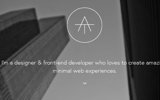 alan tippins designer personal website layout dark grey