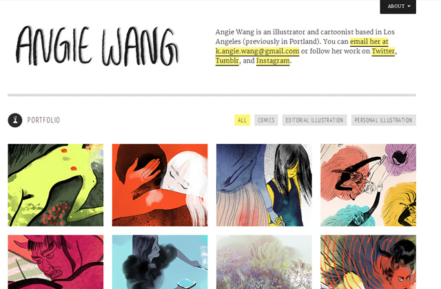 angie wang portfolio flat website layout