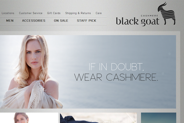Fashion web shop Black Goat website layout