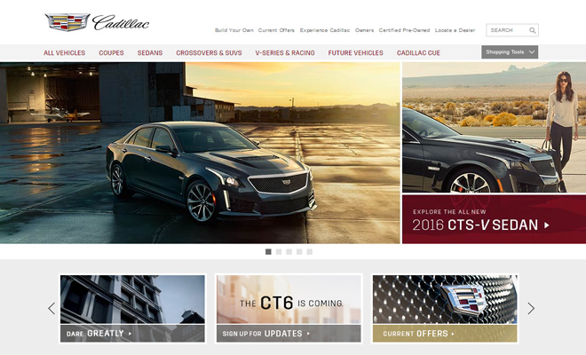 cadillac website car company