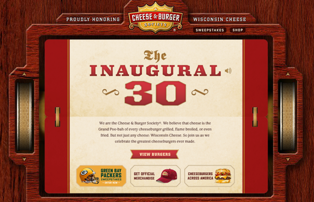 dark website flash burger cheeseburger layout