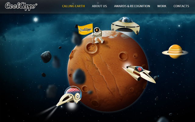 space homepage animation coolapps website design