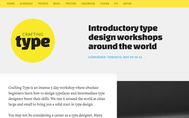 crafting type yellow font design workshop