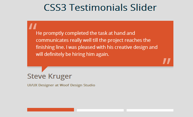 css3 testimonial quotes slider open source snippet