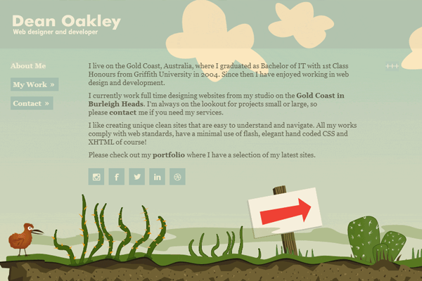 Dean Oakley website interface illustration design