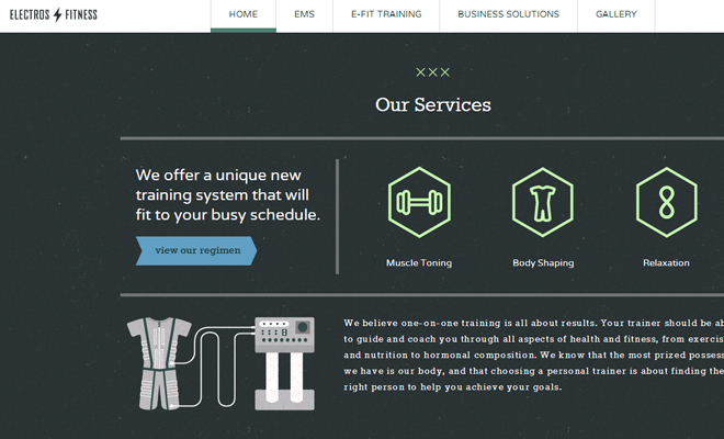electros fitness personal training website layout homepage