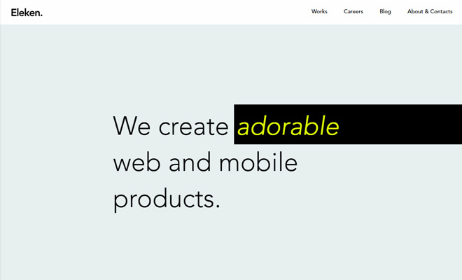 eleken simple minimalist agency website