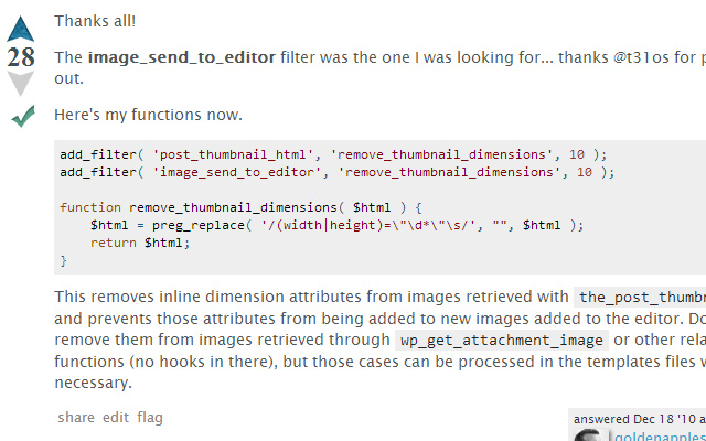 wordpress functions to filter image dimensions attributes faq