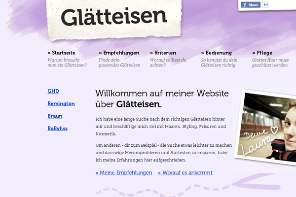 purple website layout shop German Glatteisen