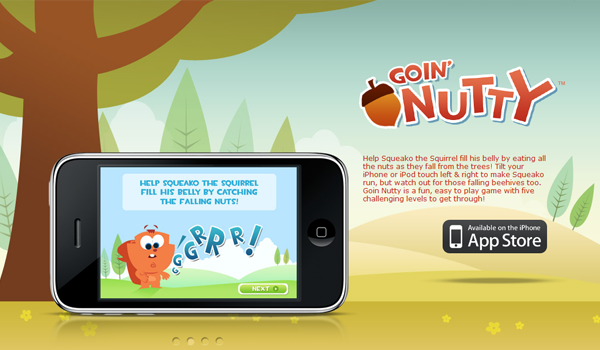 iPhone iOS Game website - Goin Nutty