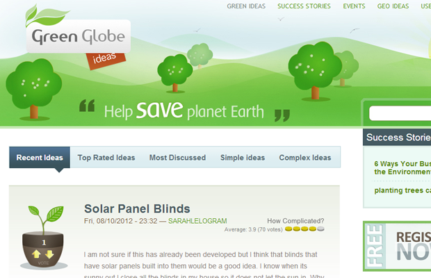 green globe illustrations website layout ideas