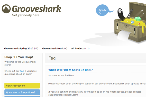 Online shop Grooveshark web store faq support questions