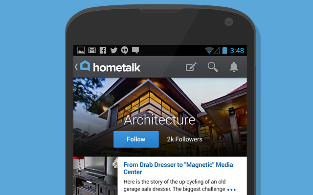 hometalk android app gallery ui design dark