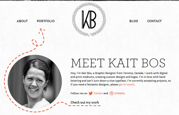 kait bos website inspiring homepage layout