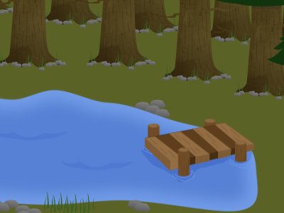 wooden lake dock illustration woods